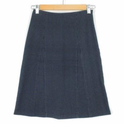 【中古】ロペ ROPE スカート ドット 刺繍 コットン 63-90 紺 ネイビー レディース
