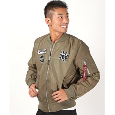 【ラグスタイル】 中綿ワッペン付きMA-1/MA-1 ジャケット メンズ 中綿 ワッペン MA1 ブルゾン メンズ ブラウン M LUXSTYLE