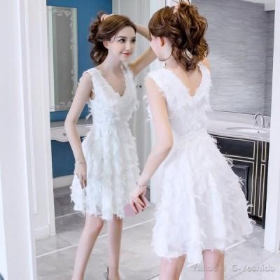 パーティードレス ワンピースセ ドレス結婚式 クシー 総レース Aライン 袖なし 膝丈 上品