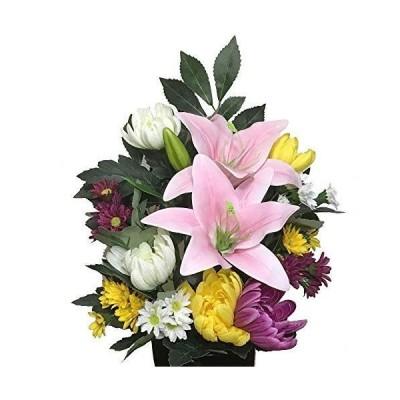 枯れない仏花(大)ピンク百合 シルクフラワー造花