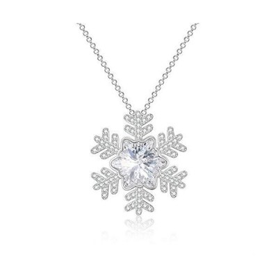 (新品) AOBOCO Christmas Snowflake Gifts Sterling Silver Snowflake Necklace Embellished with Crystals from Swarovski, Long Chain Sweate