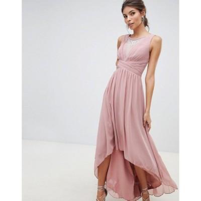 リトルミストレス レディース ワンピース トップス Little Mistress empire detail dipped hem maxi dress with sheer embellished neckline