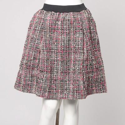 フェリシモサーカス FelissimoCircus インナーパンツ付きで暖かい 華やぐミックスツイードのウール混Aラインスカート (ピンク×グレイ)