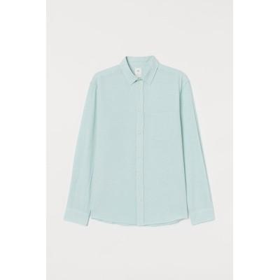 H&M - レギュラーフィット リネンブレンドシャツ - ターコイズ