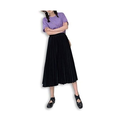 [ミケディ] プリーツスカート ロング Aライン 無地 しっかり生地 上品 シンプル レディース (ブラック L)