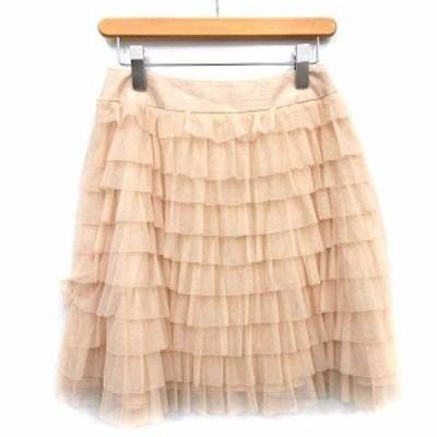 【中古】エムズグレイシー M'S GRACY スカート ミニ ティアード チュール 38 M ベージュ /☆G ■EC レディース