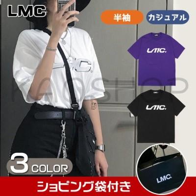 LMC レディーストップス 半袖 Tシャツ  カットソー トップス メンズ ブラック ファッション ショピング袋付き