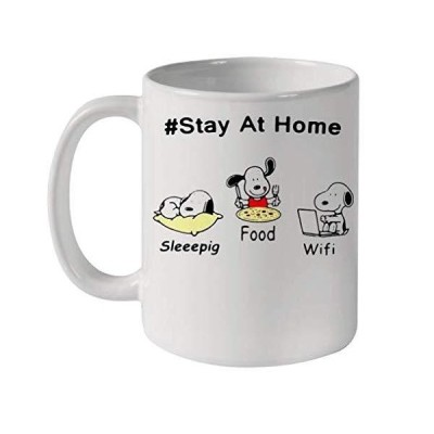 Snoopy Stay At Home Sleeepig Food And Wifi Ceramic Mug 11oz