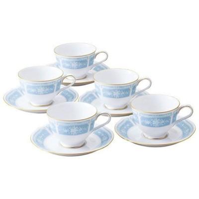 Noritake ノリタケ レースウッドゴールド カップ&ソーサー5客セット ブルー BL H9587A/1507 コーヒー・紅茶 兼用碗皿 5客碗皿 内祝い お祝い ご贈答
