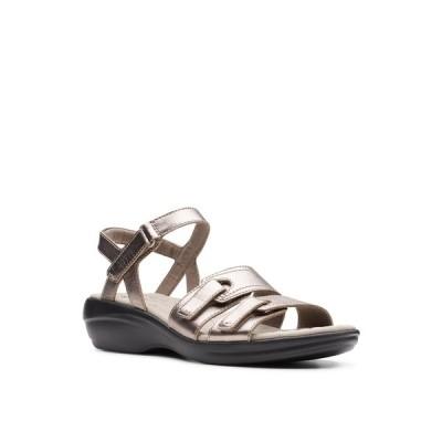 クラークス サンダル シューズ レディース Collection Women's Alexis Shine Flat Sandals Pewter Metallic Leather