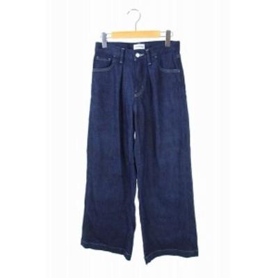 【中古】ウォードブルー woad blue パンツ ワイドデニム タック 24 濃紺 ネイビー /ES ■OS レディース