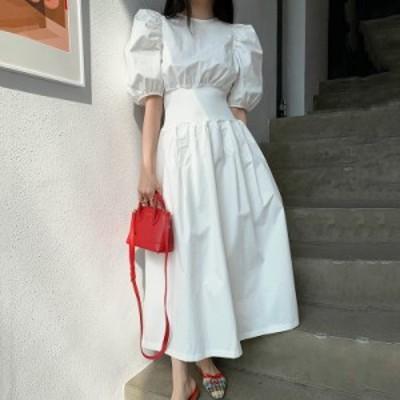 フランス エレガント ラウンドネック ルーズフォールド デザイン ハイウエスト ビッグスイング バブルスリーブ ドレス ロングスカート 女