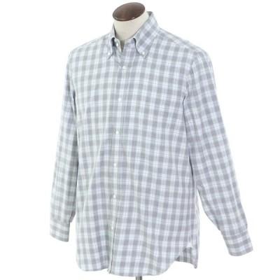 バルバ BARBA チェック ボタンダウンシャツ グレー×ライトブルー 43