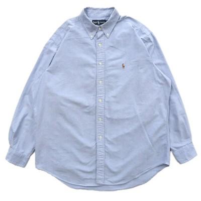 ポロラルフローレン オックスフォード ボタンダウンシャツ 長袖 サックスブルー サイズ表記:161/2