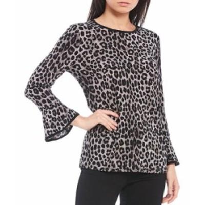 マイケルコース レディース Tシャツ トップス MICHAEL Michael Kors Cheetah Print Lux Matte Jersey 3/4 Flare Sleeve Top Gunmetal