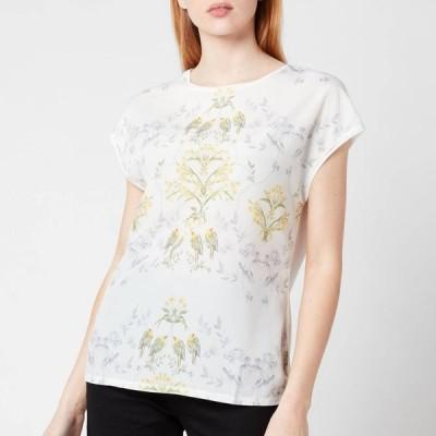 テッドベーカー Ted Baker レディース Tシャツ トップス Sonjja Papyrus Printed Woven Front T-Shirt - Cream White/Green/Blue/Yellow