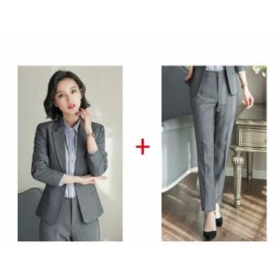スーツ パンツ セットアップ 2点セットビジネス フォーマル【グレー ジャケット+パンツ ジャケット+スカート】