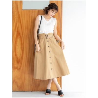 フロントボタントレンチスカート