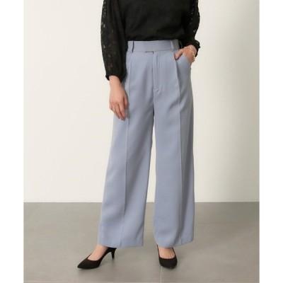 パンツ スラックス 【低身長向けサイズ】センタープレスハイウエストワイドタックパンツ
