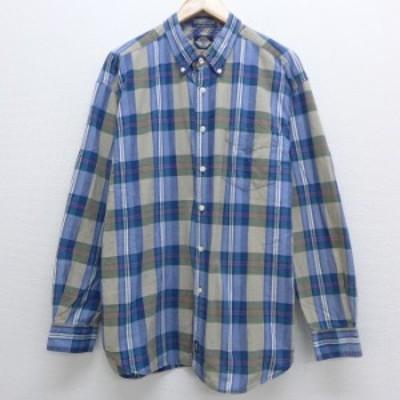古着 長袖 ブランド シャツ 90年代 90s ドッカーズ コットン ボタンダウン 紺他 ネイビー チェック XLサイズ 中古 メンズ トップス シャ