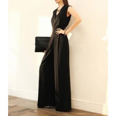 パンツドレス 大きいサイズ オールインワン ワイドパンツ ハイウエスト ノースリーブ セクシー きれいめ お呼ばれ 成人式 二次会 同窓会