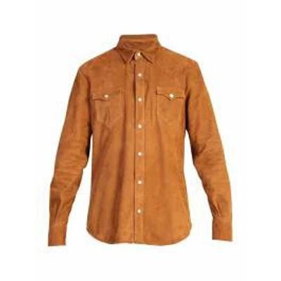 Alanui メンズシャツ Alanui Suede Leather Shirt Brown