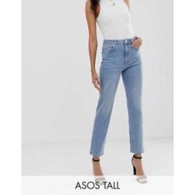 エイソス レディース デニムパンツ ボトムス ASOS DESIGN Tall Florence authentic straight leg jeans in low stretch denim in light v