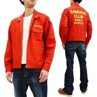 サムライジーンズ チャンピオンジャケット サムライ倶楽部 シャツジャケット PEACE BELL チェーン刺繍ロゴ SCCJK19-02 レッド 新品