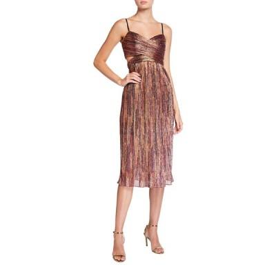 アイダン マトックス レディース ワンピース トップス Pleated Metallic Spaghetti-Strap Midi Dress