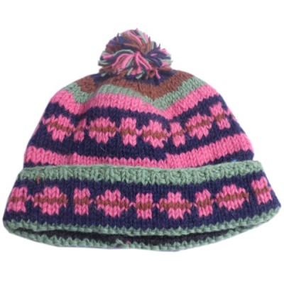 帽子 ネパール・手編みボンボン帽子9 クリックポスト選択 送料200円