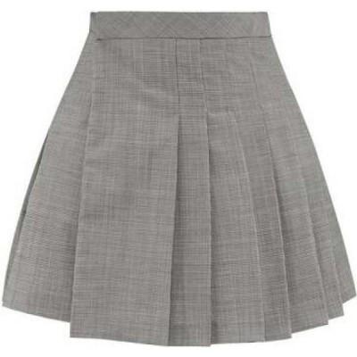 マシュー アダムズ ドーラン Matthew Adams Dolan レディース ミニスカート スカート Pleated houndstooth wool-blend mini skirt Grey
