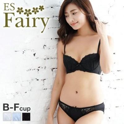 23%OFF (イーエスフェアリー)ES Fairy クリアローズ 3/4カップ ブラジャー ショーツ セット BCDEF 大きいサイズ