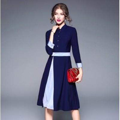 韓国 ワンピース ドレス レディース 袖あり スタンドカラー フレア 切り替え Aライン プリーツ