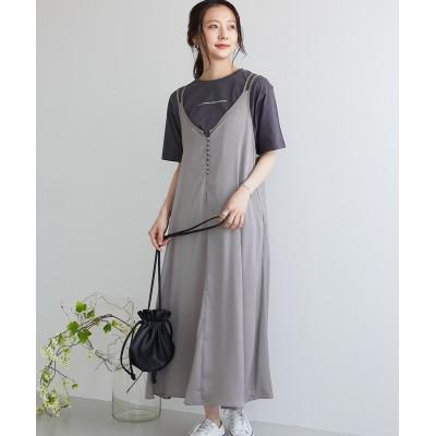ビンテージサテン前ボタンキャミワンピース (ワンピース)Dress