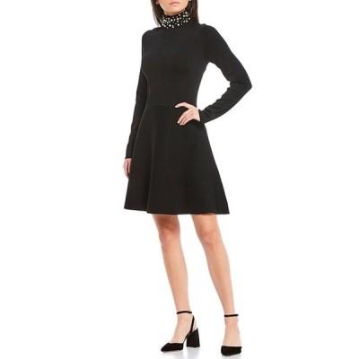 エリザジェイ レディース ワンピース トップス Pearl Mock Neck Long Sleeve A-Line Dress