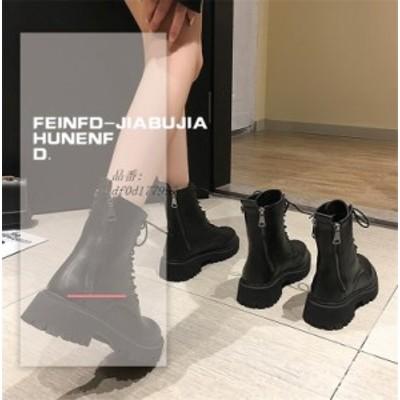 レディース ショートブーツ 編み上げブーツ 厚底 太めヒール JK クール チャック 女子靴