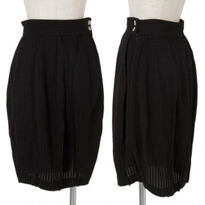 トリコ コムデギャルソンtricot COMME des GARCONS 混紡タックデザイン変わり織りスカート 黒M 【レディース】