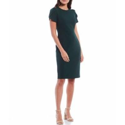 カルバンクライン レディース ワンピース トップス Tulip Sleeve Solid Sheath Stretch Dress Malachite