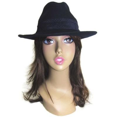 帽子 ハット 中折れ帽子 ウール フェルトハット ネイビー 54 ヨーロッパ 古着