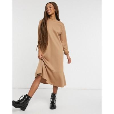 ニュールック New Look レディース ワンピース ミドル丈 ワンピース・ドレス flute hem sweat midi dress in camel キャメル