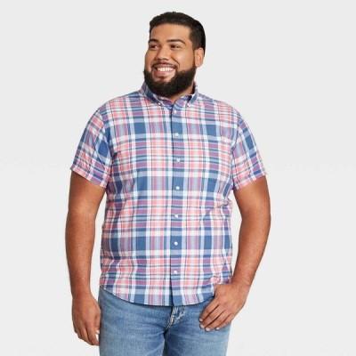 グッドフェロー Goodfellow & Co メンズ 半袖シャツ 大きいサイズ Big & Tall Standard Fit Stretch Poplin Short Sleeve Button-Down Shirt -