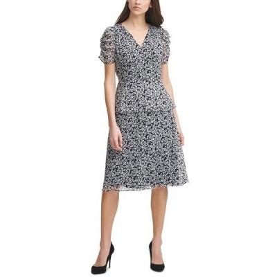 カールラガーフェルド ワンピース トップス レディース Printed Chiffon Dress Black Soft White Corn