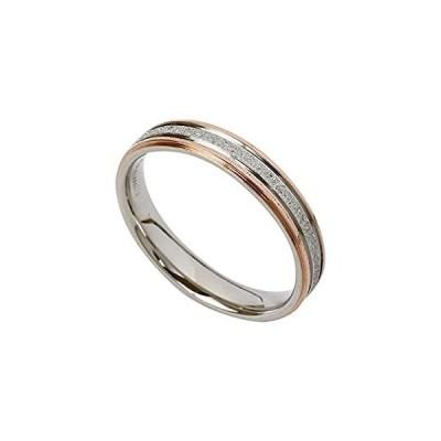サージカルステンレスリング 指輪 ペアリング 上品ラメラインデザイン (1個売) ピンクゴールド 13号