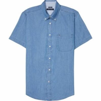 トミー ヒルフィガー Tommy Hilfiger Adaptive メンズ 半袖シャツ トップス Magnetic Button Shirt Short Sleeve Custom Fit Medium Wash