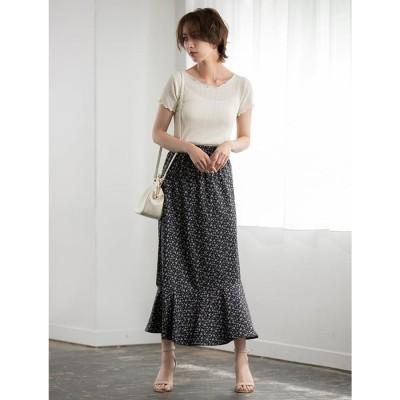 裾切り替え小花柄スカート ES21S0214