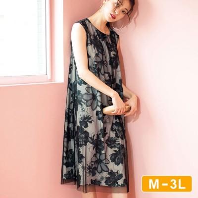 Ranan 【M~3L】チュールレイヤードフレアーワンピース ブラック M レディース