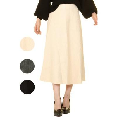 レディース ニットスカート 秋 冬 暖かい 伸縮性 ストレッチ 肌触り ウエストゴム かわいい 女性らしい 大人カジュアル Aライン ミモレ丈 流行