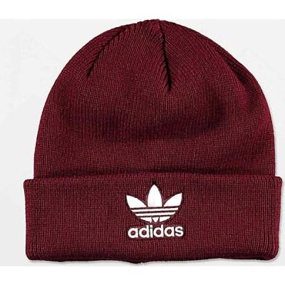 アディダス ADIDAS メンズ ニット ビーニー 帽子 adidas Trefoil Burgundy & White Beanie Dark red