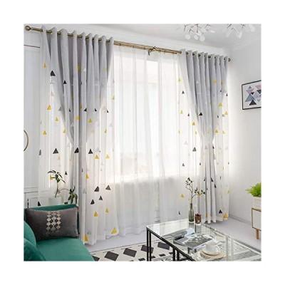 北欧 シンプル 幾何模様 レースカーテン 布と紗合わせて 遮光カーテン モダン 修飾物