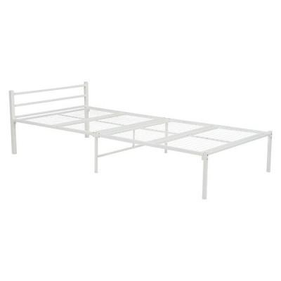 パイプベッド シングル ホワイト ベッド シングルベッド 一人暮らし 白家具 シンプル メッシュ スチール スタイリッシュ 組立式